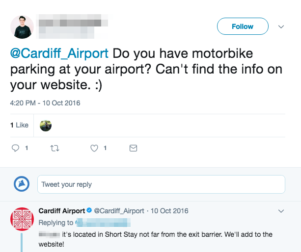 Parking for Motorbikes at Cardiff Airport