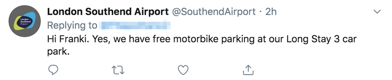 Southend Airport offer Free motorbike parking
