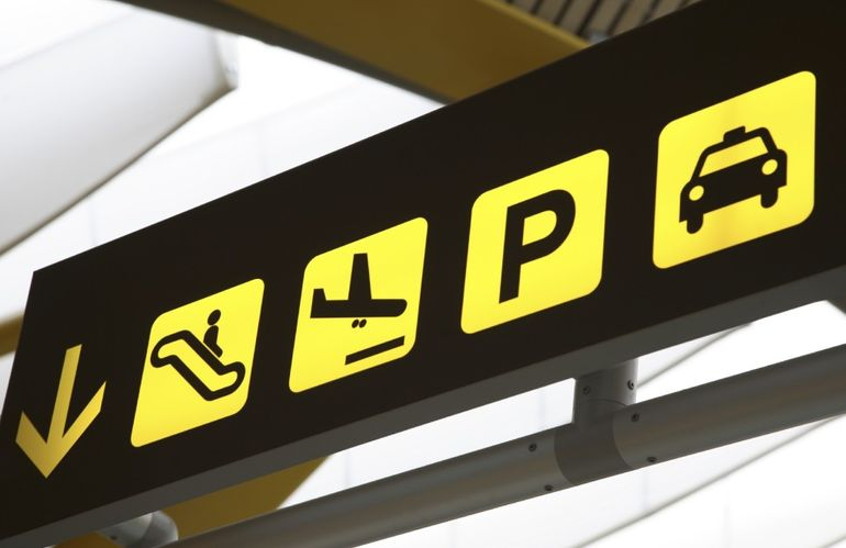 Transport Sign in Airport points to airport car parking