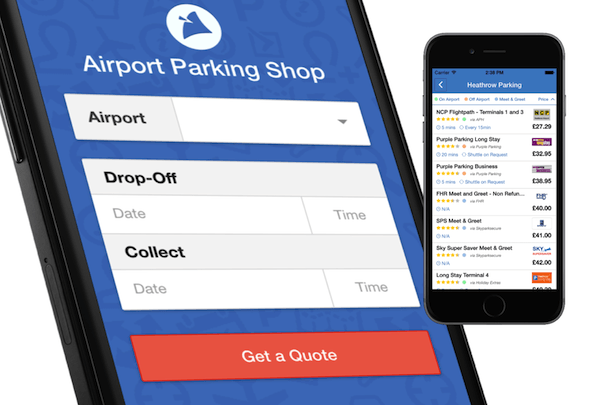 The look of our new airport parking shop mobile app