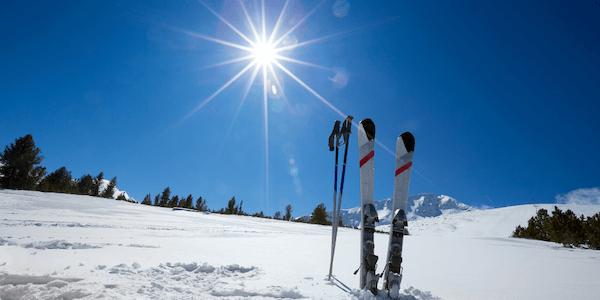ski equipment in the sun