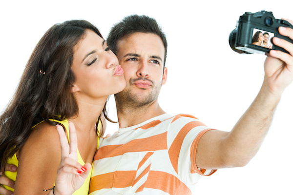 Couple taking fun selfie Valentine's Day.