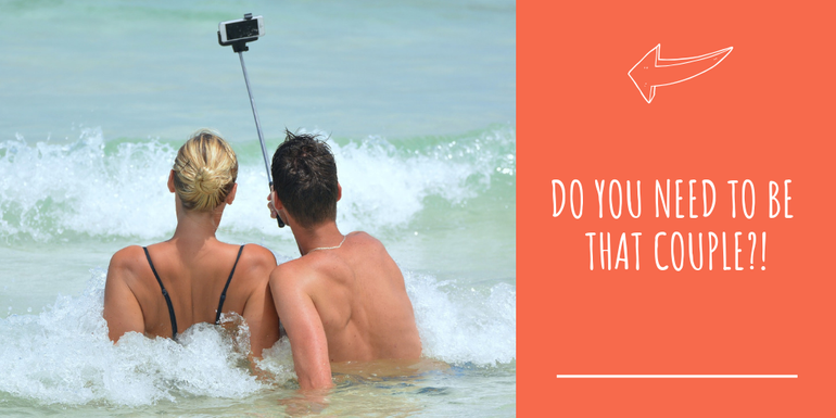 Couple taking selfie on holiday