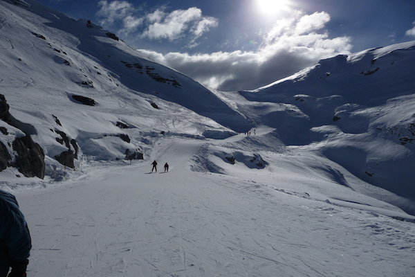 Skiing on the slopes of Flaine