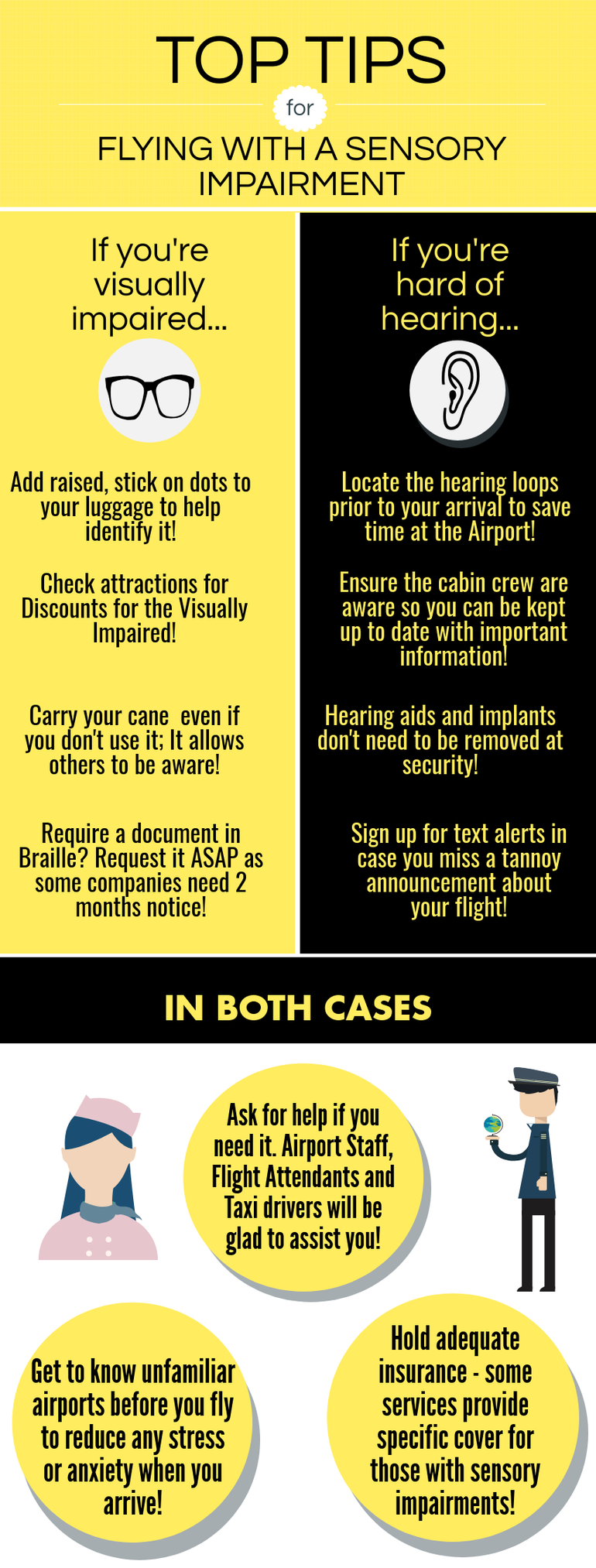 Tip for those travelling with sensory impairment; let staff know so they can assist you if needed!