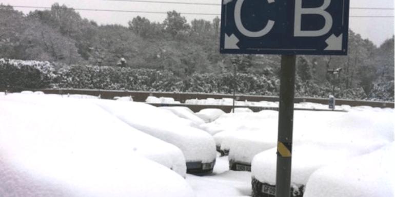 snowy car park