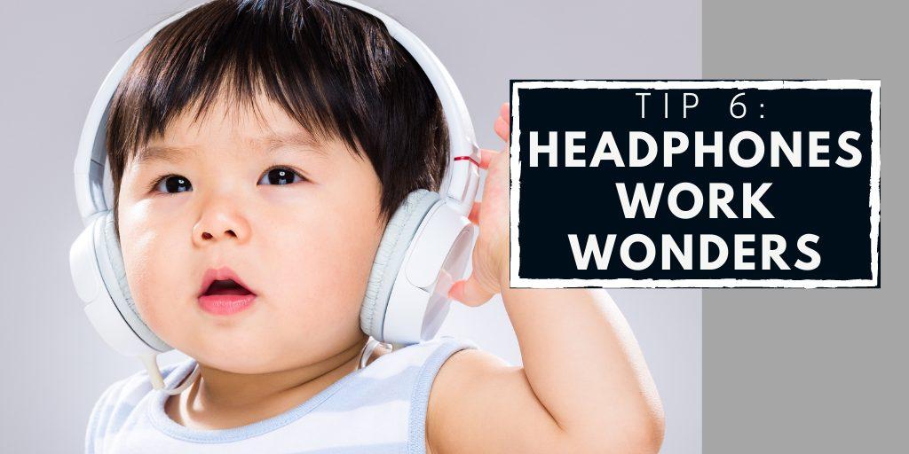 Kid wearing headphones