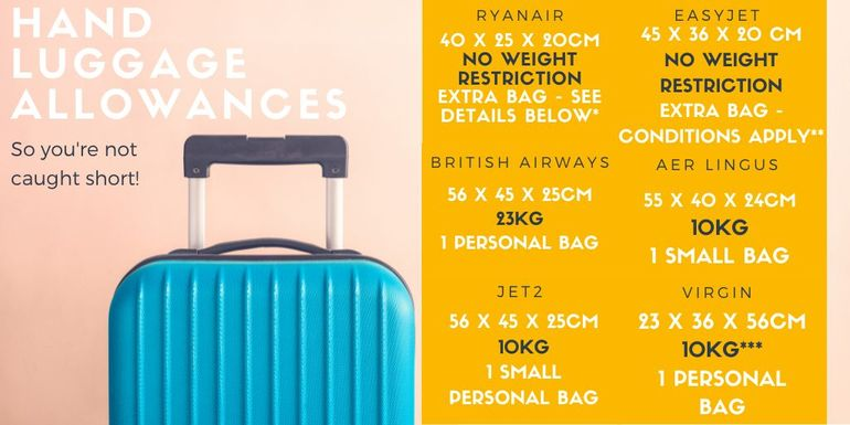 Hand baggage restrictions for popular airlines