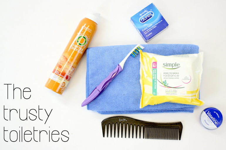 Dry Shampoo, toothbrush, a towel and face wipes come up trumps in the toiletries must haves!