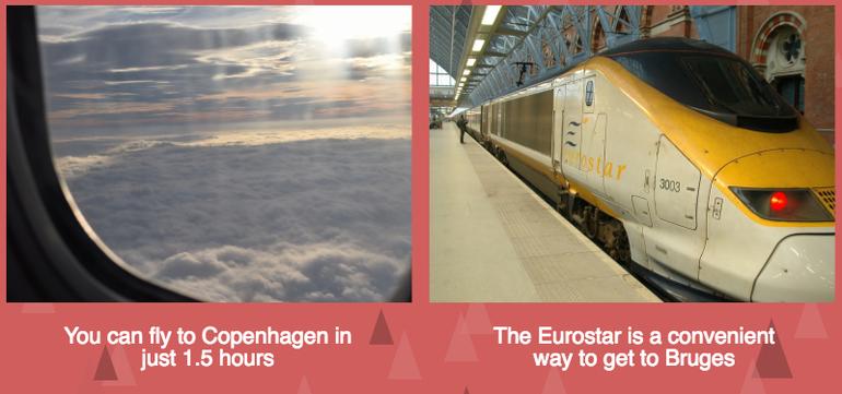 Boat options for Copenhagen and Bruges