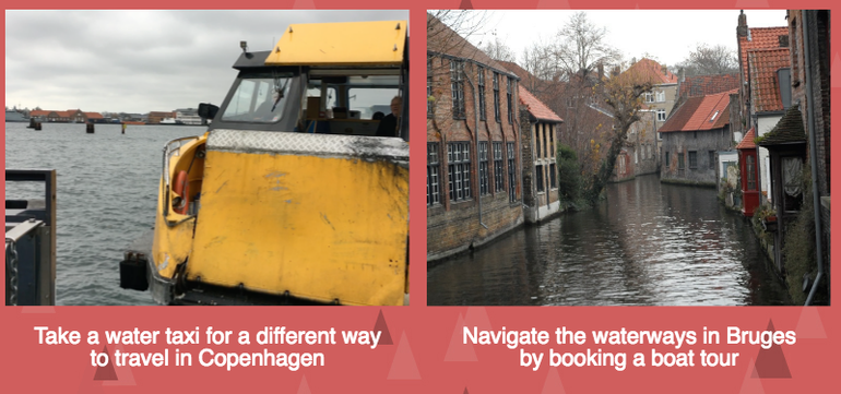 using water instead of roads in Copenhagen and Bruges at Christmas