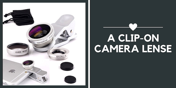 travel gifts for Valentine's Day - clip on camera lense