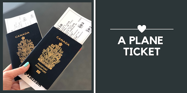 travel gifts for Valentine's Day - plane ticket