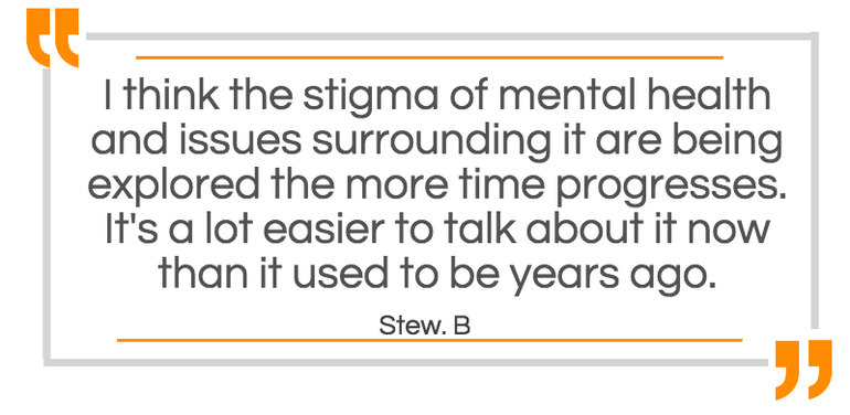 The stigma of Mental Health is being explored - It's a lot easier to talk about now.