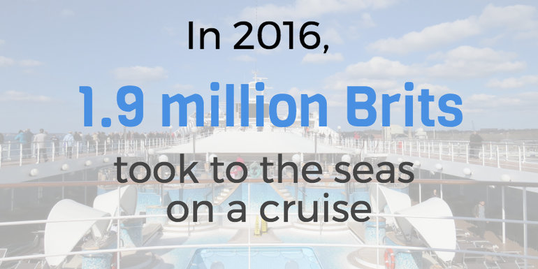 in 2016, 1.9 million Brits took to the seas on a cruise