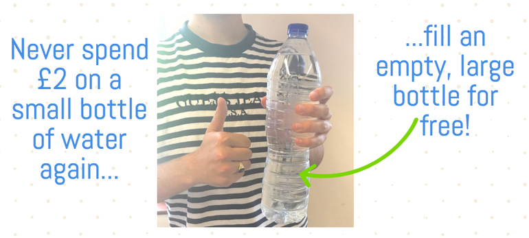 take a large bottle and fill it up for free after security! Never pay £2 for 500ml of water again.