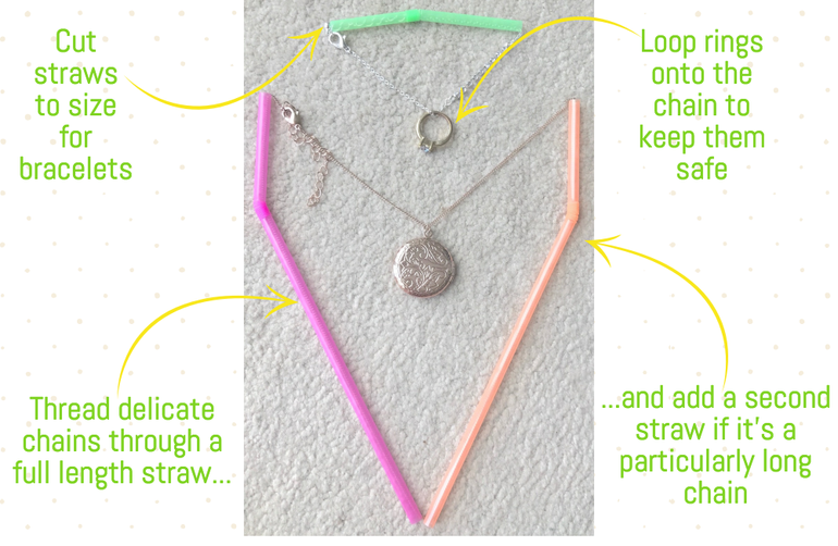 popping your necklaces through a straw to keep them from tangling is a great packing hack!