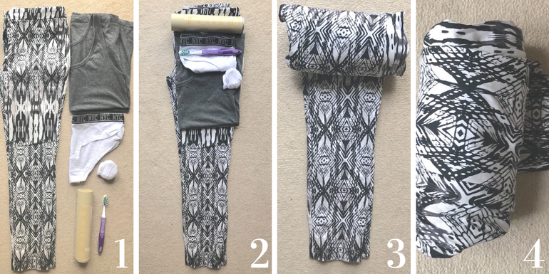 Packing hacks we love - rolling your items in your clothes