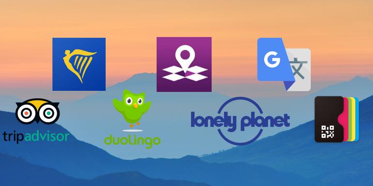 our top apps: tripadvisor, ryanair, duolingo, inmapz, lonely planet, google translate & PassesWallet