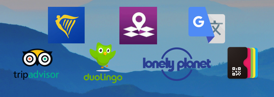 our top apps: tripadvisor, ryanair, duolingo, inmapz, lonely planet, google translate and PassesWallet