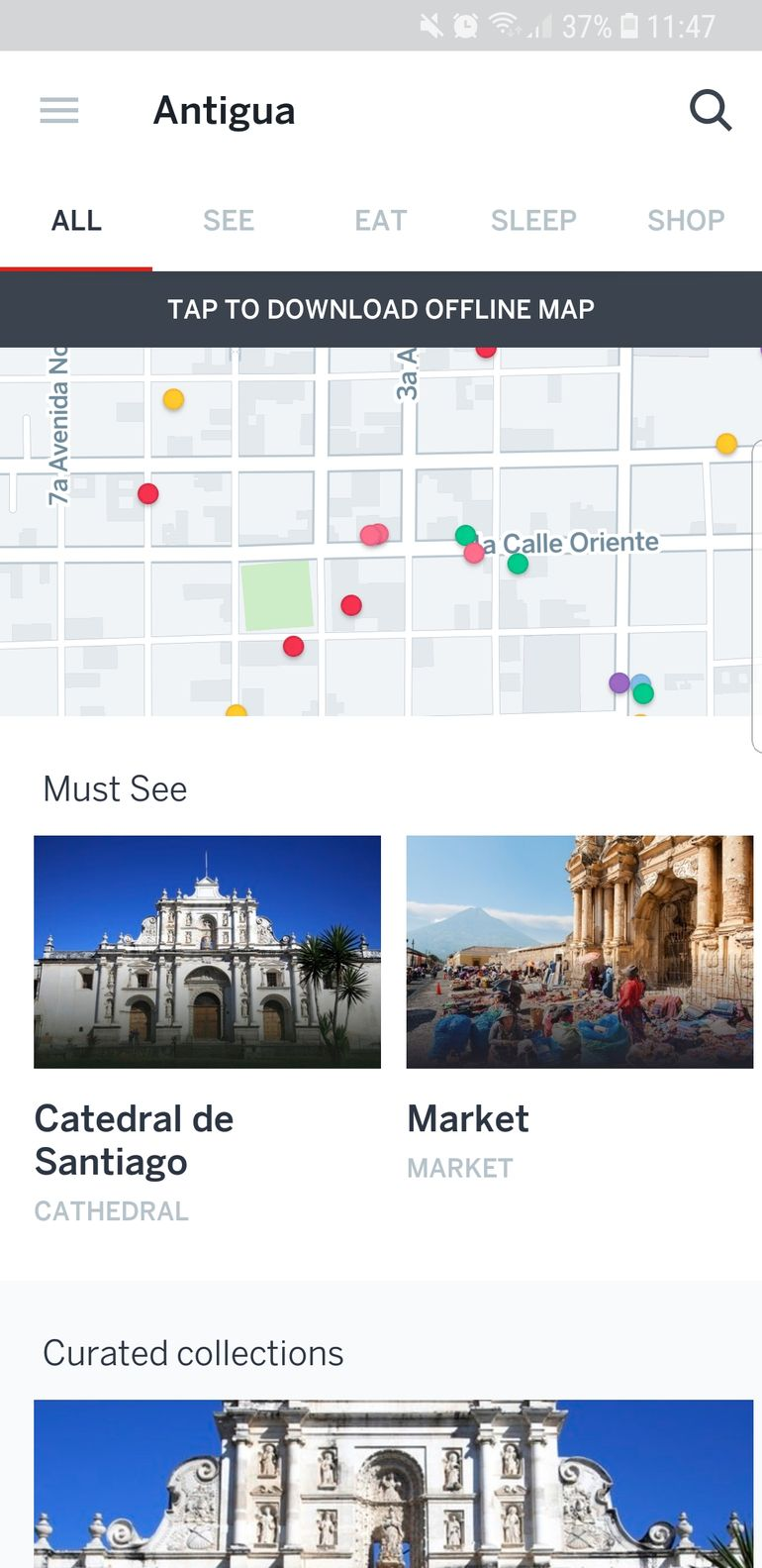 city guide and map from the lonely planet app