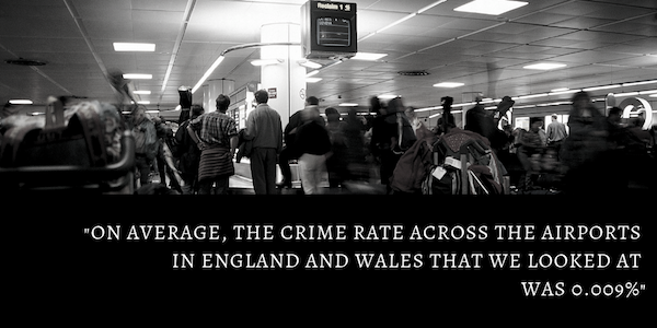 Crime rates across airports in England and Wales